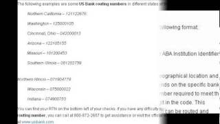US Bank Routing Number