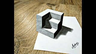 How to draw Truncated Cube #2 - Drawing 3D Carved Cube - Art Maker Akshay