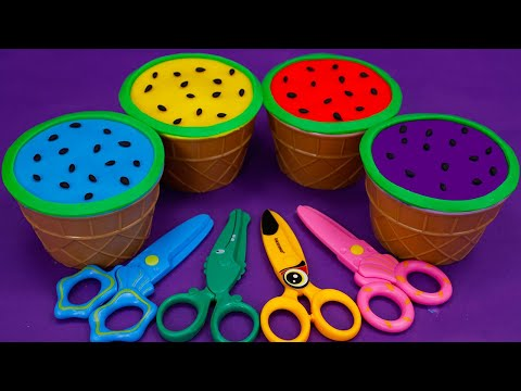 🍉Learn 4 Colors Play Doh in Ice Cream Cups and Watermelon | Disney Toys,Surprise Eggs
