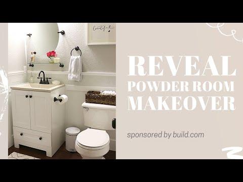 reveal powder room makeover - youtube