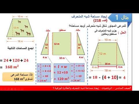 الصف السادس الرياضيات إيجاد مساحة المنحرف والطائرة الورقية 1 Youtube