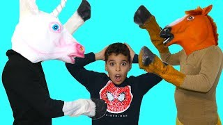 children play with the horse costume,Videos for Kids