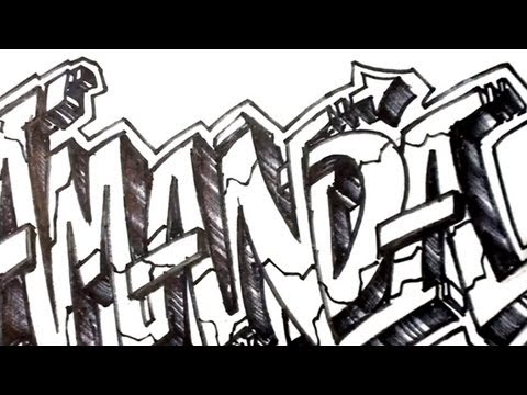 How to Draw Graffiti Letters - Write Amanda in 3D Letters | MAT
