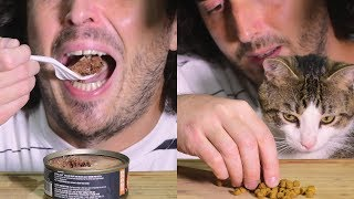 ASMR Man Trying CAT FOOD * Wet and Dry CRUNCHY * 고양이 + 먹방