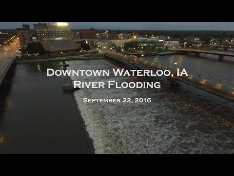 Waterloo, IA River Flood from Drone - September 2016