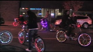 Bicycles Decorated With Christmas Lights - Holiday Light Bike Ride - Modesto, California