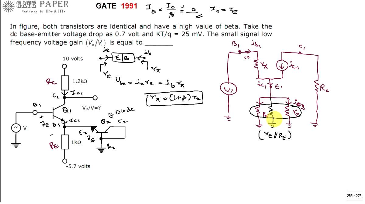 gate 1991 ece small signal voltage gain of given bjt amplifier circuit youtube [ 1200 x 672 Pixel ]