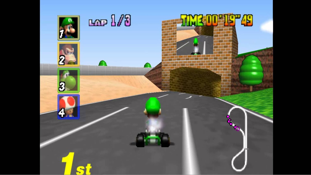 mario kart 64 luigi circuit silenced audio youtube. Black Bedroom Furniture Sets. Home Design Ideas