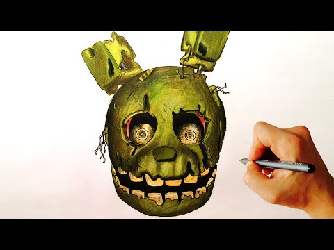 How to draw Springtrap from Five Nights at Freddy's FNAF step by step drawing lesson