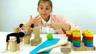 Видео для девочек - Барби в тренажерном зале - Видео про кукол