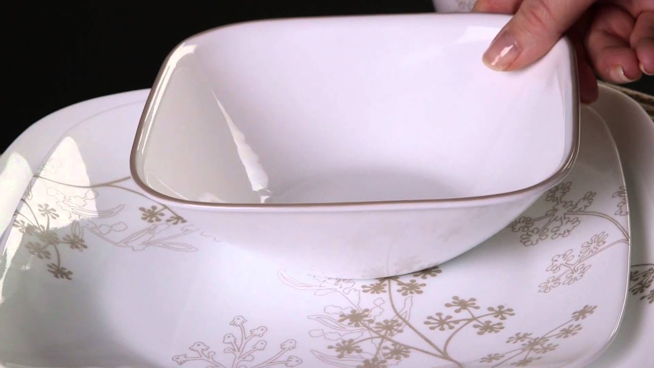 & Corelle - Shadow Dance 16 Piece Dinnerware Set - YouTube