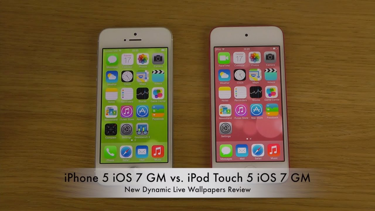 iPhone 5 iOS 7 GM vs. iPod Touch 5 iOS 7 GM - New Dynamic Live Wallpapers Comparison Review ...