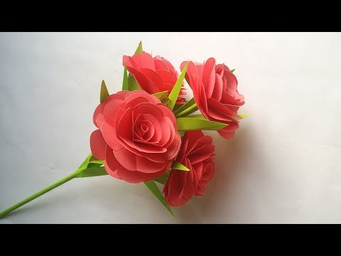 DIY: Paper Flower Stick!!! How to  Make Beautiful Paper Rose/Flower Stick for Home/Room Decoration!!