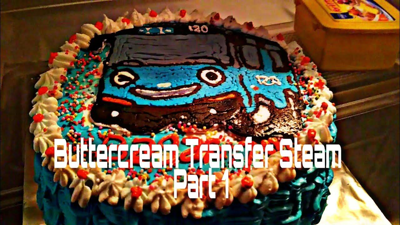 Cara Membuat Kue Ulang Tahun Tayo Buttercream Transfer Steam