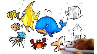 Colorful Drawing Sea Animals for Kids | 바닷속 동물 그리기