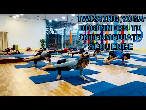 twisting yoga beginners to intermediate sequence  master