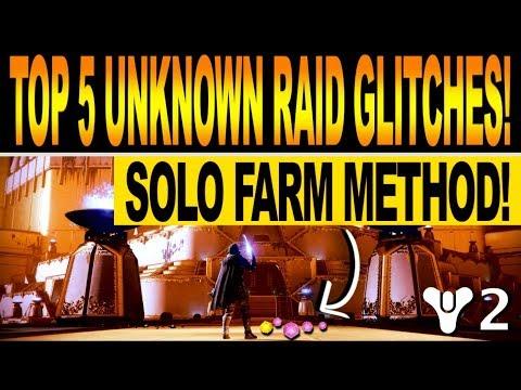 Destiny 2 | TOP 5 UNKNOWN RAID GLITCHS! Solo Farm & Cheese Method! thumbnail