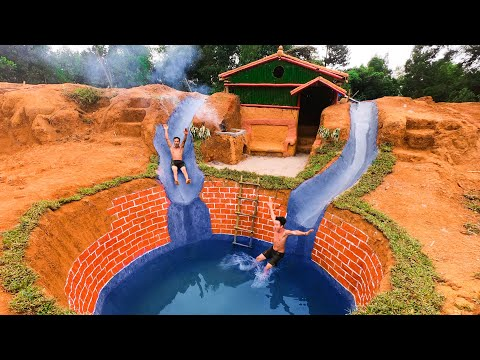How To Build Swimming Pool Water Slide Around Secret Underground House - full video