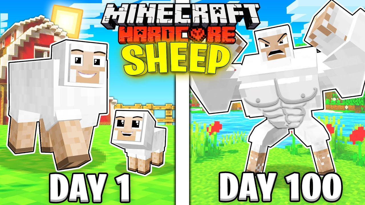 I Survived 100 Days AS A SHEEP in HARDCORE Minecraft!