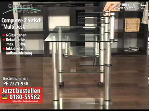 General office computer glastisch multi desk youtube - Pc glastisch ...