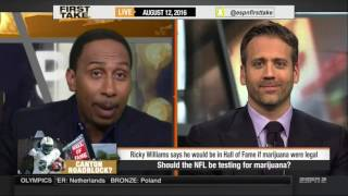 ►1080P ᴴᴰ ESPN FIRST TAKE 8 12 2016 RICKY WILLIAMS I'D BE A HALL OF FAMER IF WEED WAS LEGAL