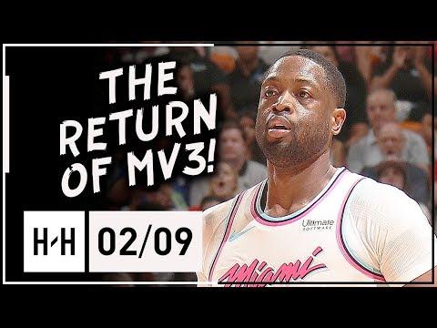 Dwyane Wade First Game Back with Heat, Full Highlights vs Bucks (2018.02.09) - CLUTCH Block!