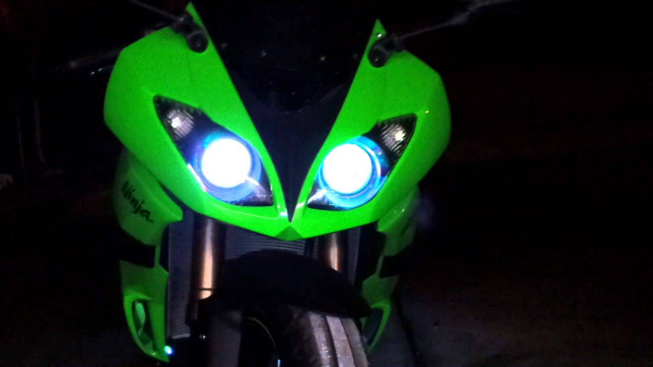 Zx6r With Color Changing Led Headlights Youtube