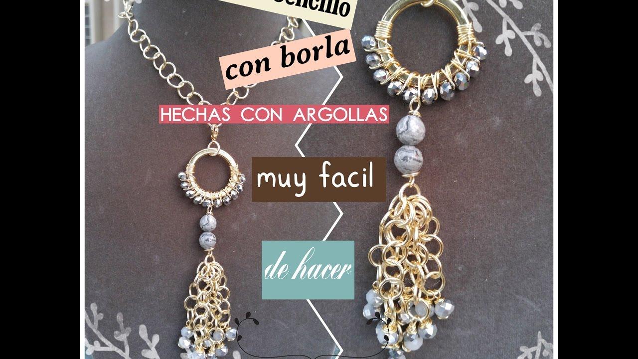 8855a595dbe0 Collar con borla y laterales de argollas (bisuteria) - YouTube