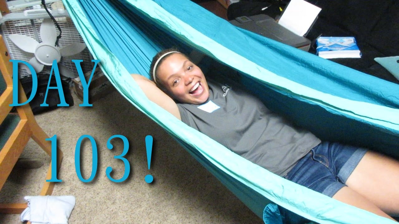 We have a hammock in our dorm day 103 youtube for How to hang a hammock in a room