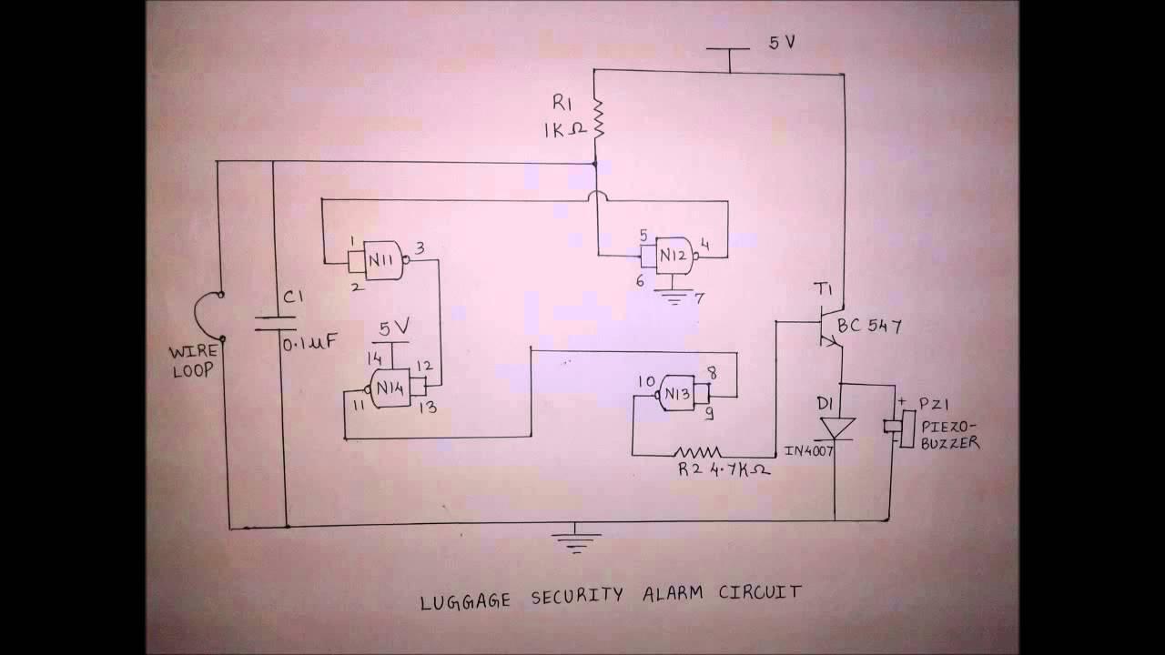 luggage security alarm circuit youtube rh youtube com Alarm Relay Circuit Simple Alarm Schematic
