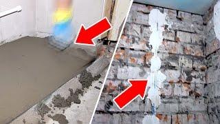 Ремонт ванной комнаты и туалета ОТ и ДО. Часть 1 - стяжка пола, выравнивание стен.(, 2017-02-23T06:30:00.000Z)
