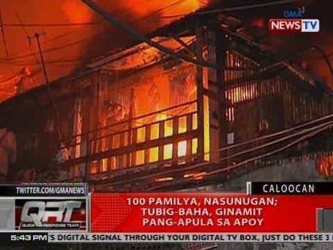 QRT: 100 pamilya nasunugan sa Caloocan; tubig-baha, ginamit pang-apula ng apoy