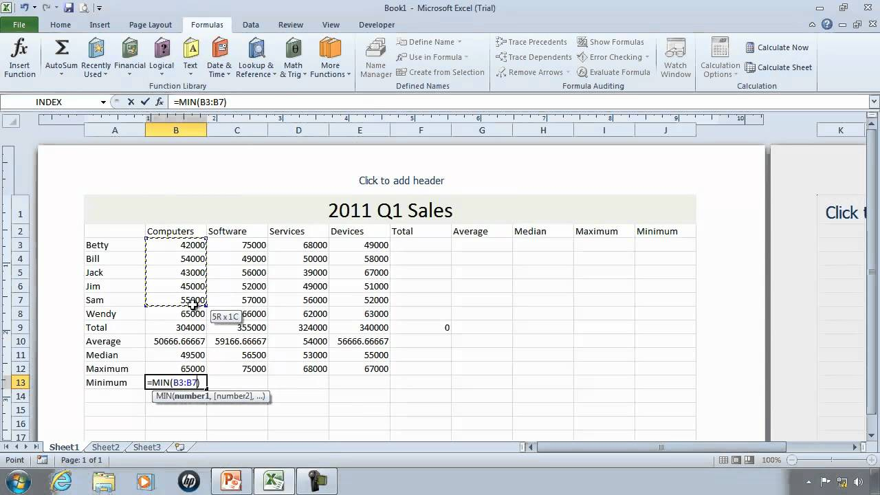 Excel 2010 Tutorial 6 - Worksheet Function Example - Sum Average Median  Maximum Minimum