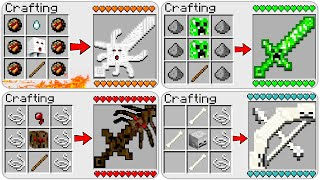 HOW TO CRAFT NEW MOB SWORDS in MINECRAFT? 4 SECRET RECIPE *O*