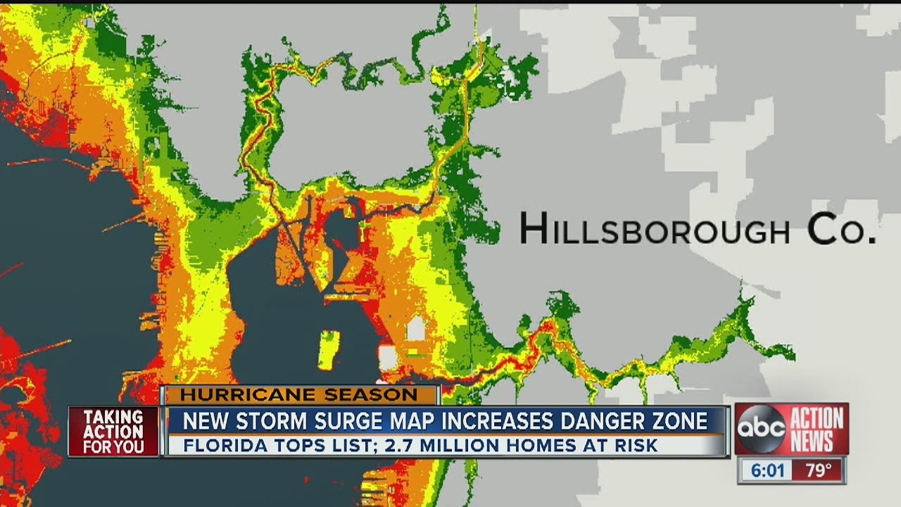 Map Of Florida Bays.Maps Show Tampa Bay S Storm Surge Vulnerability Youtube