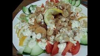 Fried Shrimp & Calimari On Basmati Rice Lemon Cucumber Dill Salad 2/2 Chef John The Ghetto Gourmet