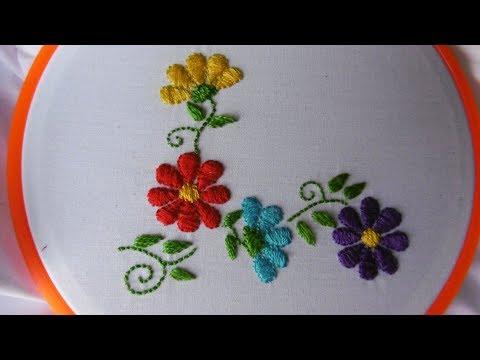 Satin Stitch Flowers  Hand embroidery Artesd&39;Olga