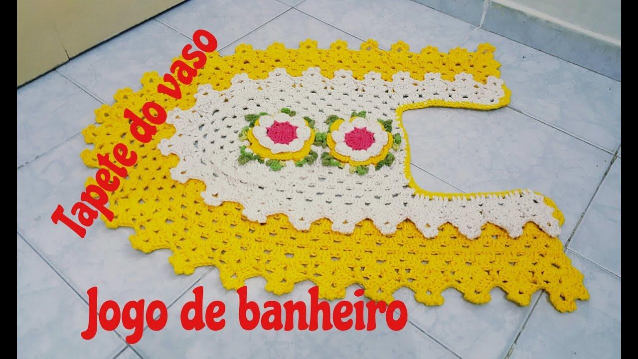 #C7AB04 Jogo de banheiro em crochê com barrado duplo Tapete do Vaso  1493x886 px tapete para banheiro em l