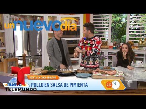 Kuno Becker cocina con el chef James un Pollo en Salsa de Pimiento | Un Nuevo Día | Telemundo