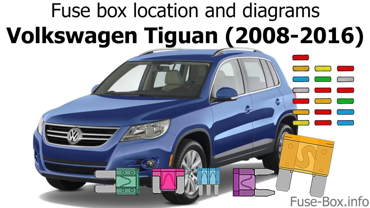 Fuse box location and diagrams: Volkswagen Tiguan (2008