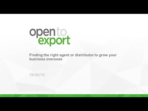 Webinar: finding the right agent or distributor to grow your business overseas