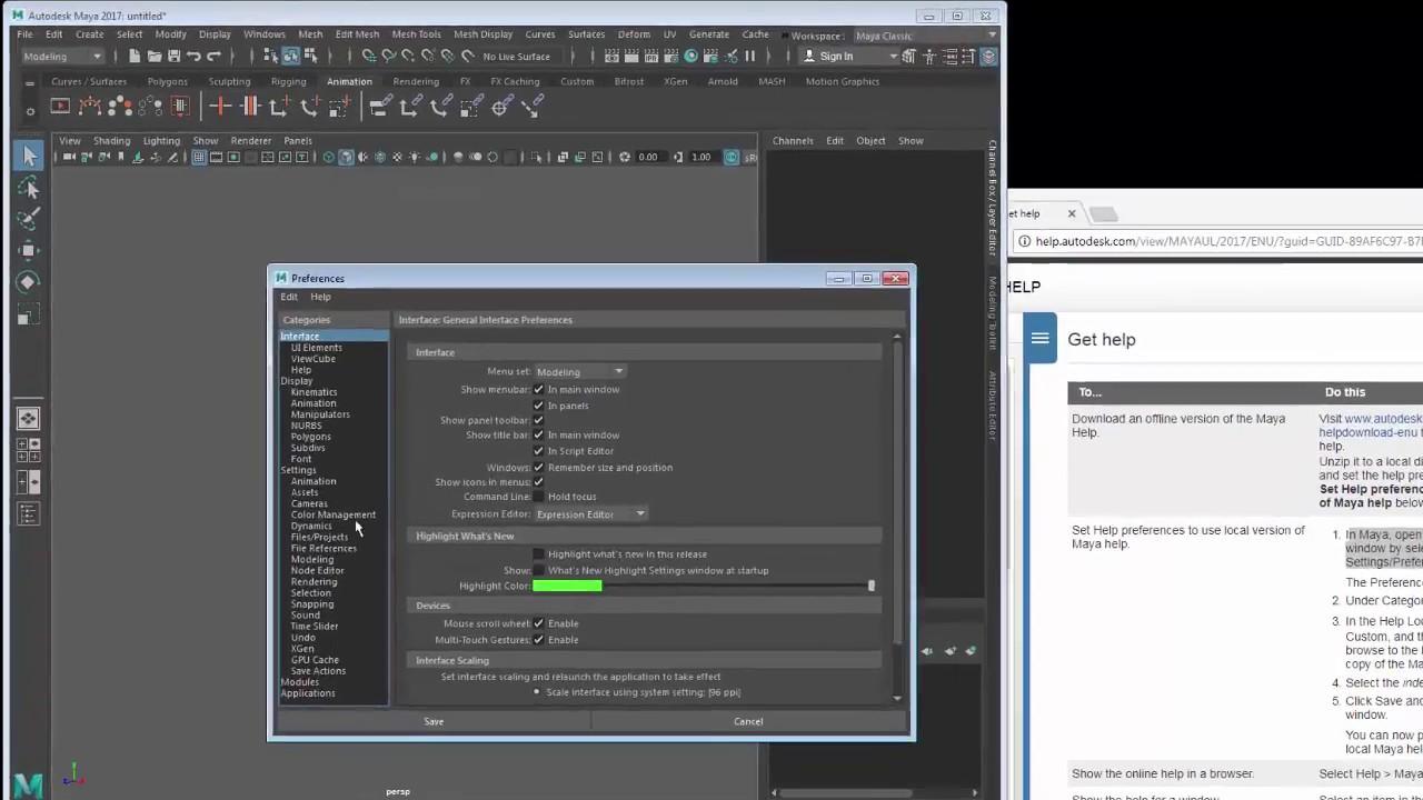 How to install the menu Help for Autodesk Maya 2017 - Autodesk Maya tutorial