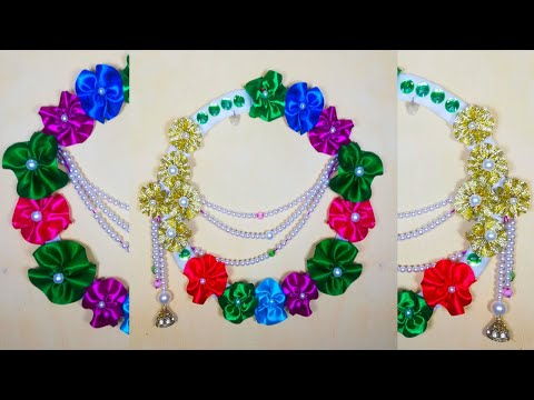 Handicraft wall decoration idea How to Make Flower Wall Hanging for Home Decor DIY ribbon flower