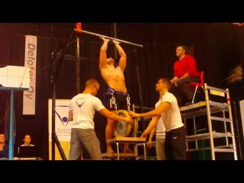 Weighted chin up 83 kg (Finnish record in -80 kg weight class)