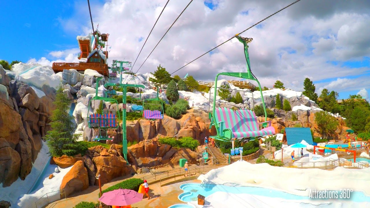 Summit Chair Lift 4k] chair lift to the summit - disney's blizzard beach water park
