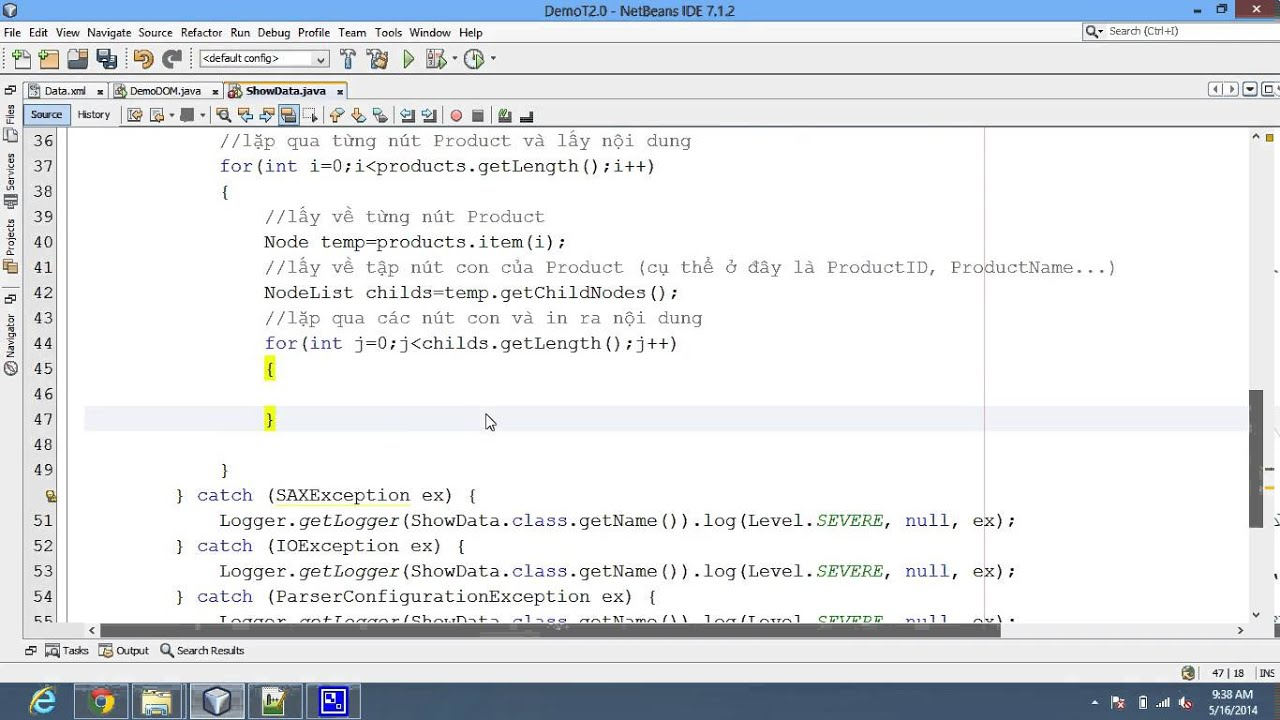 Java Code View Data From Xml File Using Dom Example Youtube