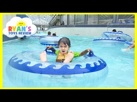 WATERPARK WAVE POOL Family Fun Outdoor Amusement Giant Waterslides  Ryan ToysReview