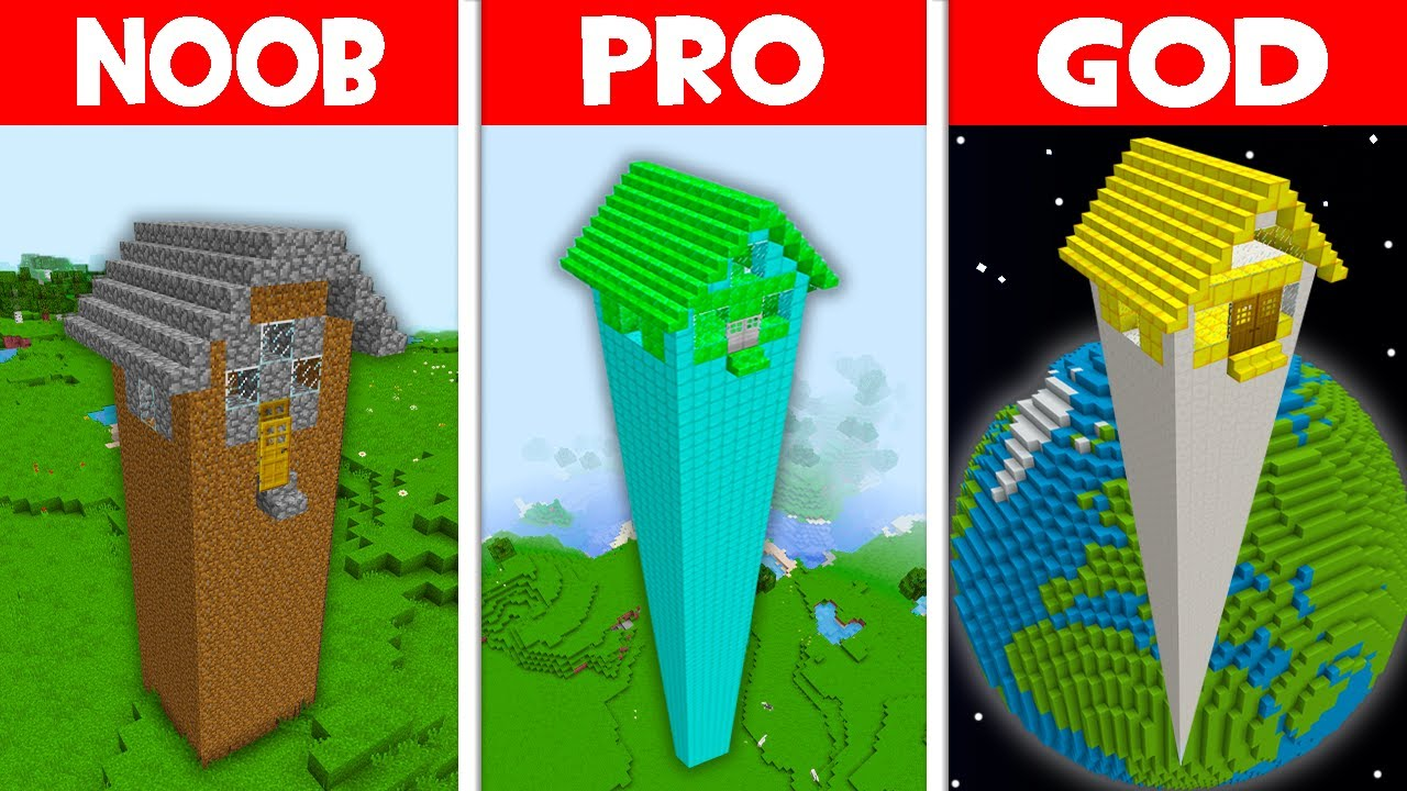 Minecraft NOOB vs PRO vs GOD: WHY DID NOOB BUILD THIS HIGHEST HOUSE?! (Animation)