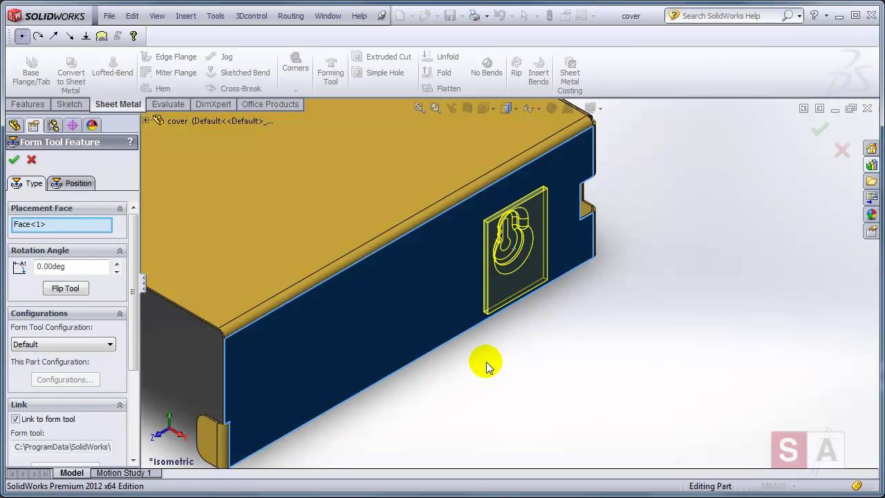 Creating Custom Sheet Metal Forming Tools in SOLIDWORKS - YouTube
