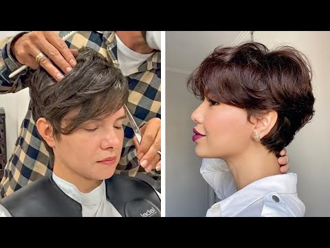 amazing-short-haircut-|-short-layered-&-pixie-haircut-tutorials-|-trendy-hairstyles-women-2020-grwm